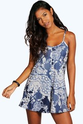 Boohoo Lace And Floral Print Swing Playsuit Blue