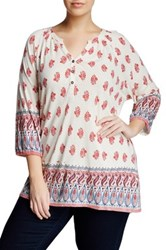 Lucky Brand Red Woodblock Border Blouse Plus Size