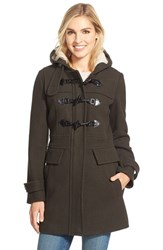 Women's London Fog Wool Blend Duffle Coat With Faux Shearling Lined Hood