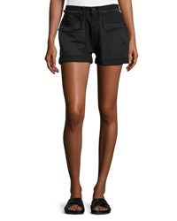 Helmut Lang Frayed Cotton Denim Shorts Black