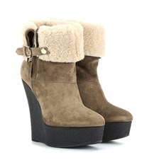 Burberry Shearling Lined Suede Wedge Boots Beige