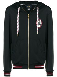 Class Roberto Cavalli Logo Patch Zipped Hoodie Black