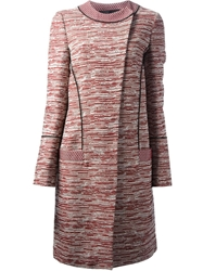 Proenza Schouler Long Tweed Coat Red