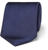Turnbull And Asser Ribbed Silk Tie Blue