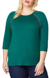 Rebel Wilson X Angels Plus Size Embellished Raglan Tee Botanical Green