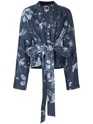 I'm Isola Marras Belted Floral Print Jacket Blue