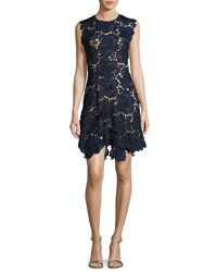 Catherine Deane Cap Sleeve Lace Fit And Flare Dress Navy