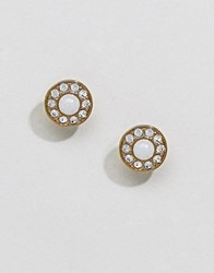 Dyrberg Kern White And Gold Stud Earrings