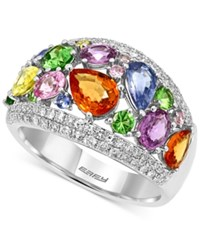 Effy Multi Stone 4 Ct. T.W. And Diamond 1 2 Ct. T.W. Ring In 14K White Gold