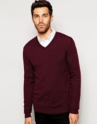 Asos Merino V Neck Jumper Burgundy