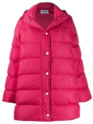 Msgm Oversized Padded Coat Pink