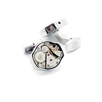 Lc Collection Luxurious Rhodium Watch Movements Cufflinks Silver