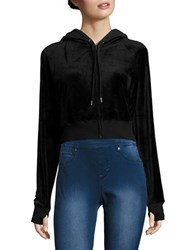 Highline Collective Zip Up Velour Cropped Hoodie Black