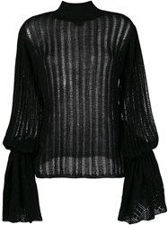 Michel Klein Pleated Knit Jumper Black