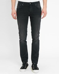 Nudie Jeans Black Grim Tim Fitted Straight Cut Jeans