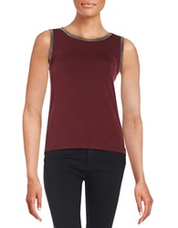 Anne Klein Metallic Trimmed Tank Red