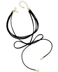 Inc International Concepts Gold Tone Imitation Suede Tie Choker Necklace Only At Macy's Black