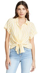 7 For All Mankind Cap Sleeve Tie Front Top Dandelion White Stripe