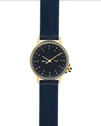 Miansai M12 Watch With Leather Strap Navy Gold
