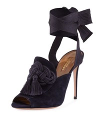 Aquazzura Legend Ankle Wrap Suede Sandal Navy