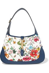 Gucci Jackie Hobo Medium Floral Print Canvas And Textured Leather Shoulder Bag White