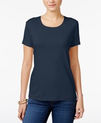 Karen Scott Scoop Neck T Shirt Only At Macy's Intrepid Blue