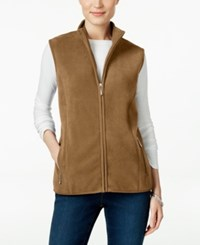 Karen Scott Fleece Zip Front Vest Only At Macy's Chestnut