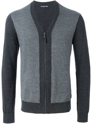 Michael Kors Panelled Zip Cardigan Grey