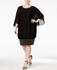 Msk Plus Size Batwing Sleeve Beaded Shift Dress Black