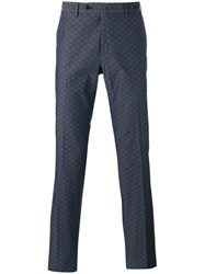 Pt01 Dot Print Tailored Trousers Blue