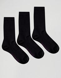 French Connection 3 Pack Plain Socks In A Box Black Purple