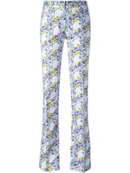 Giamba Floral Print Trousers Pink And Purple