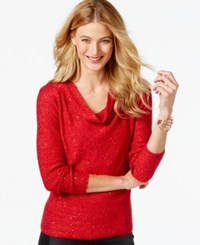 Inc International Concepts Sequin Drape Cowl Sweater Only At Macy's Glamorous Red