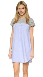English Factory Tee Shirt Mini Dress Heather Grey Light Blue