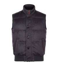 Stefano Ricci Leather And Mink Trim Cashmere Gilet Male Navy