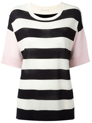 Chinti And Parker Striped Knit T Shirt Black