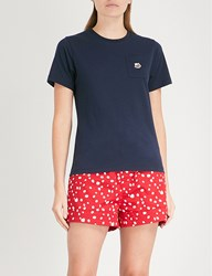 Chocoolate Embroidered Bee Motif Cotton Jersey T Shirt Navy