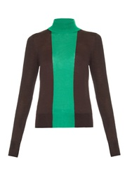 Jonathan Saunders Contrast Panel Roll Neck Wool Sweater
