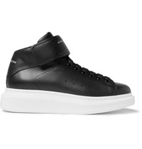 Alexander Mcqueen Exaggerated Sole Leather High Top Sneakers Black
