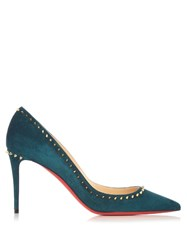 Christian Louboutin Anjalina 85Mm Suede Pumps Dark Green