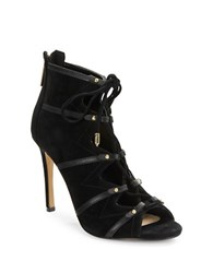 Karl Lagerfeld Caine Suede Lace Up Booties Black