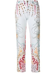 Roberto Cavalli Cropped Printed Jeans Blue