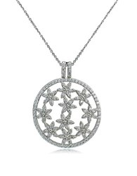 Lord And Taylor Round Filigree Pendant Necklace Silver