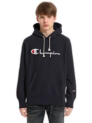 Champion Hooded Logo Cotton Sweatshirt Navy