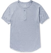 Save Khaki United Cotton Blend Jersey Henley T Shirt Light Blue