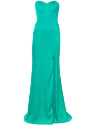 La Femme Beaded Strapless Evening Gown Green