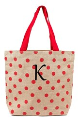 Cathy's Concepts Personalized Polka Dot Jute Tote Red Red K