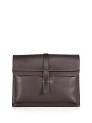 Giorgio Armani Leather Flap Portfolio Brown