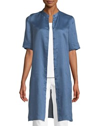 Lafayette 148 New York Randi Button Front Gemma Cloth Tunic Riptide