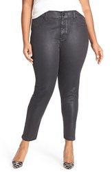 Melissa Mccarthy Seven7 Plus Size Women's High Rise Coated Pencil Jeans Black